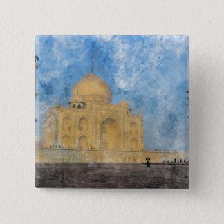 Taj Mahal in Agra Indien Quadratischer Button 5,1 Cm