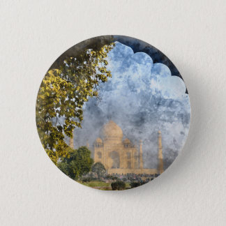 Taj Mahal in Agra Indien Runder Button 5,7 Cm