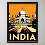 Taj Mahal Indien retro Plakat des Kunst-Dekos