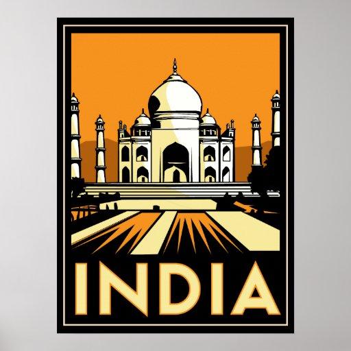 Taj Mahal Indien retro Reise des Kunst-Dekos Vinta Poster