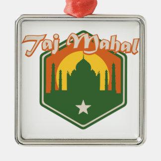 Taj Mahal Quadratisches Silberfarbenes Ornament