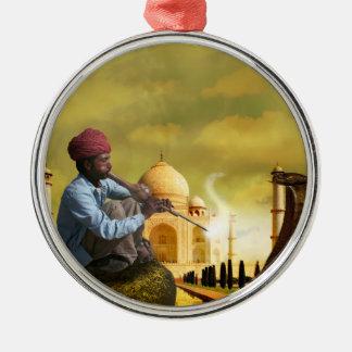Taj Mahal Rundes Silberfarbenes Ornament