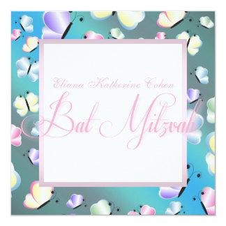 Tal blaue Schmetterlings-Schläger Mitzvah Quadratische 13,3 Cm Einladungskarte
