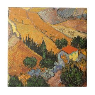 Tal mit Ploughman durch Vincent van Gogh Keramikfliese