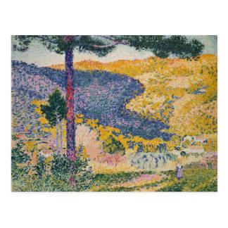 Tal mit Tannen-Schatten auf dem Berg Postkarte