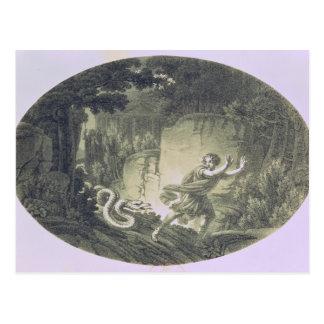 Tamino übte durch eine riesige Schlange aus Postkarte