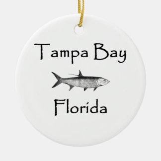 Tampa Bay Fischen - Tarpon-Logo Rundes Keramik Ornament