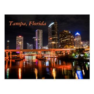 Tampa, Florida, Stadt beleuchtet Skyline bis zum Postkarte