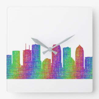 Tampa-Skyline Quadratische Wanduhr