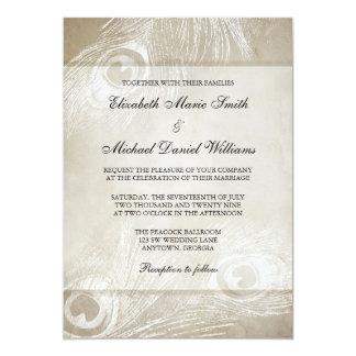 TAN-Aquarell-Pfau versieht Hochzeit mit Federn 12,7 X 17,8 Cm Einladungskarte