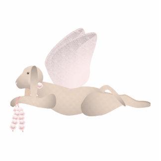 TAN-Engels-Hund mit rosa Flügeln Fotoskulptur