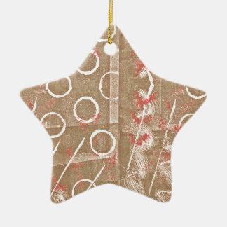 TAN-Rost-weißes abstraktes Keramik Stern-Ornament