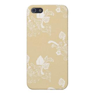 TAN u. weißes Vintages Blumenmuster iPhone 5 Schutzhüllen