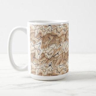 TAN und Beige mit schwarzen Squiggly Linien Kaffeetasse