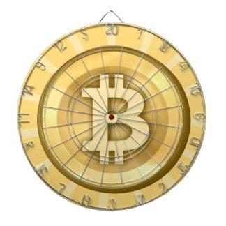TAN und weißes bitcoin Logo auf Dartboard Dartscheibe