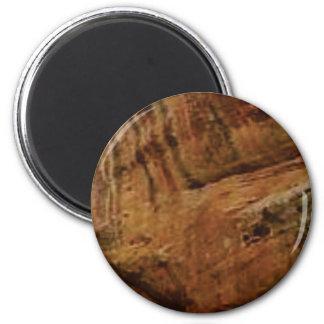 tan vertikale Sandsteinlinien Runder Magnet 5,1 Cm