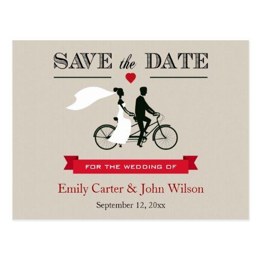 Tandemfahrrad, das Save the Date Postkarte Wedding