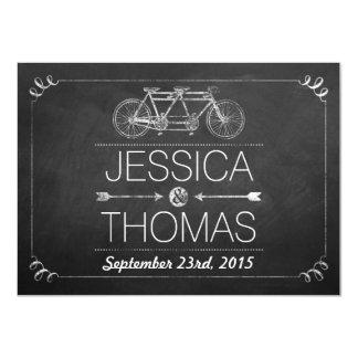 Tandemfahrrad-Tafel-Typografie-Hochzeit 11,4 X 15,9 Cm Einladungskarte
