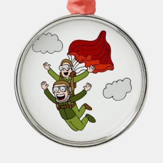 TandemSkydiving vektorCartoon Silbernes Ornament