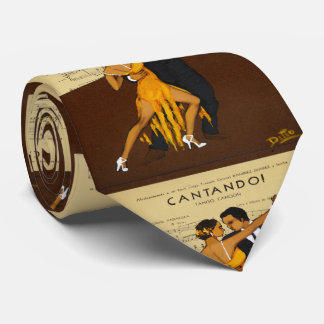 Tango-Tänzer-Paar-Vintage Plakat-Krawatte Krawatte