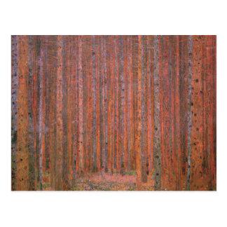 Tannen-WaldTannenwald Rot-Bäume Gustav Klimt Postkarte