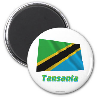 Tansania Fliegende Flagge MIT Namen Runder Magnet 5,7 Cm