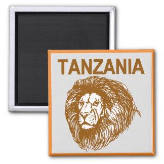 Tansania mit Löwe-Magneten Quadratischer Magnet