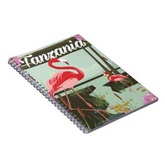 Tansania - See Natron - Flamingoreiseplakat Notizblock