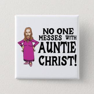 Tante Christus Quadratischer Button 5,1 Cm