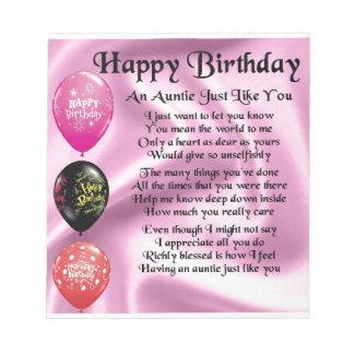 Tante Poem - alles Gute zum Geburtstag Notizblock