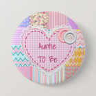 Tante To Be Quilted Heart Babyparty-Knopf Runder Button 7,6 Cm