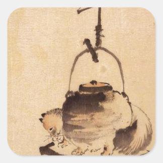 Tanuki durch Katsushika Hokusai Quadrat-Aufkleber