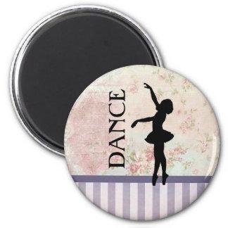 Tanz - Ballerina-Silhouette auf Vintagem Runder Magnet 5,7 Cm