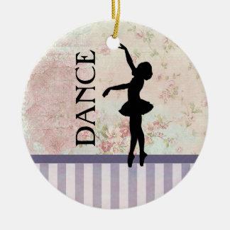Tanz - Ballerina-Silhouette-Vintager Hintergrund Keramik Ornament
