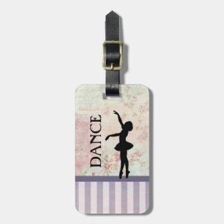 Tanz - Ballerina-Silhouette-Vintager Hintergrund Kofferanhänger