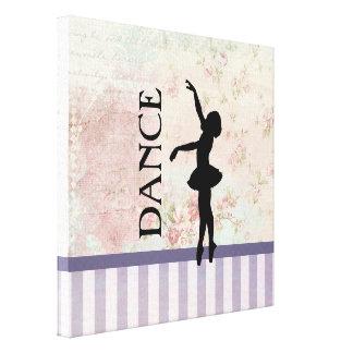 Tanz - Ballerina-Silhouette-Vintager Hintergrund Leinwanddruck