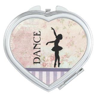 Tanz - Ballerina-Silhouette-Vintager Hintergrund Taschenspiegel