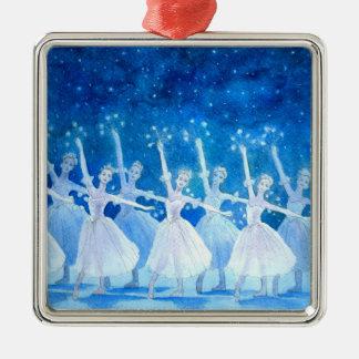 Tanz der Schneeflocke-Prämien-Verzierung Silbernes Ornament