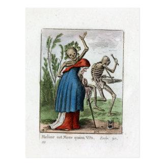 Tanz des Todes - die alte Frau - Farbdruck 1816 Postkarte