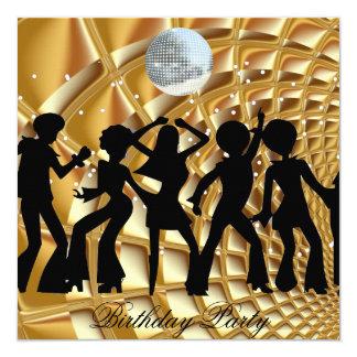 Tanz-Disco-Geburtstags-Party-Goldeinladung Quadratische 13,3 Cm Einladungskarte