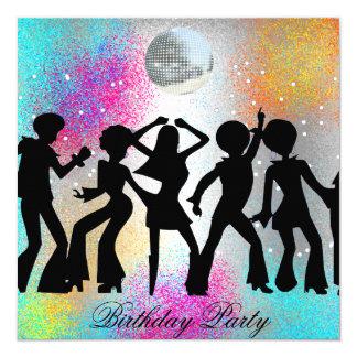 Tanz-Disco-Geburtstags-Party psychodelic Quadratische 13,3 Cm Einladungskarte