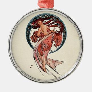 Tanz durch Alfons Mucha 1898 Rundes Silberfarbenes Ornament