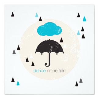 Tanz im Regenregenschirm Quadratische 13,3 Cm Einladungskarte