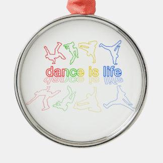 Tanz ist Leben Rundes Silberfarbenes Ornament