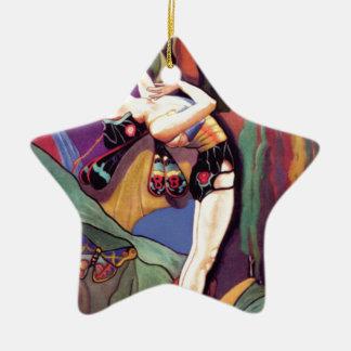 Tanz mit Schmetterlingen Keramik Stern-Ornament