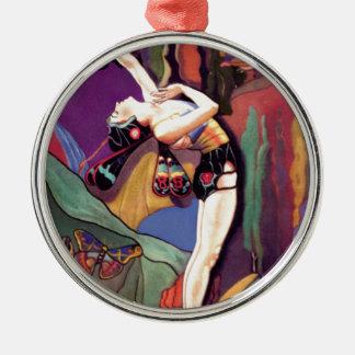 Tanz mit Schmetterlingen Rundes Silberfarbenes Ornament