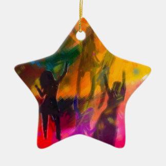 Tanz und Party Keramik Stern-Ornament