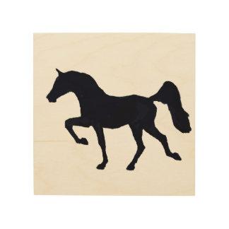 Tänzelnde arabische PferdeSilhouette Holzdruck
