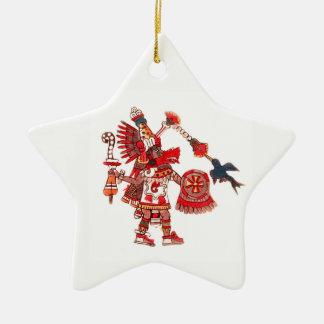 Tanzen aztekischer Shaman-Krieger Keramik Stern-Ornament