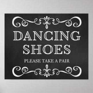 Tanzen beschuht Tafel-Hochzeits-Zeichen Poster